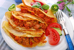 Pancakes filled with minced meat and vegetables Royalty Free Stock Images
