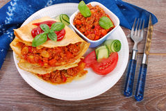 Pancakes filled with minced meat and vegetables Royalty Free Stock Image