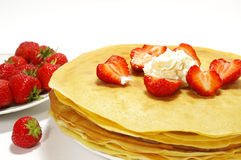 Pancakes filled with strawberry Royalty Free Stock Photo