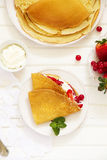 Pancakes filled with whipped cream Stock Photography