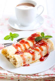Pancakes with filling Royalty Free Stock Images
