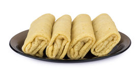 Pancakes with filling in dish Royalty Free Stock Image