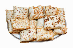 Pancakes with fillings isolated. Traditional russia pancakes with fillings isolated on white background royalty free stock images