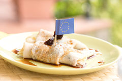 Pancakes with flag toothpick Royalty Free Stock Image