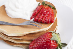 Pancakes with Fork Stock Photography
