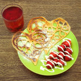 Pancakes in the form of heart Stock Photos