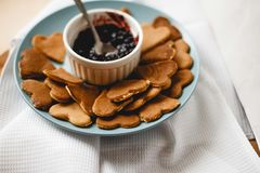 Pancakes. In the form of heart with jam Royalty Free Stock Image