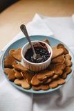 Pancakes. In the form of heart with jam Royalty Free Stock Images