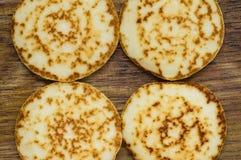 Pancakes four pieces Royalty Free Stock Photos
