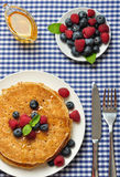 Pancakes with fresh berries Stock Photo