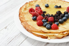 Pancakes with fresh berries Stock Photos