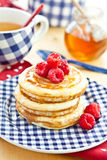 Pancakes with fresh berries. Pancakes with fresh red berries Royalty Free Stock Photo