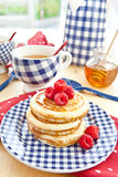 Pancakes with fresh berries. Pancakes with fresh red berries Stock Image