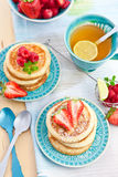 Pancakes with fresh berries Royalty Free Stock Image