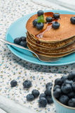 Pancakes with fresh blackberries Royalty Free Stock Image