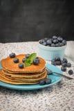 Pancakes with fresh blackberries Stock Photo