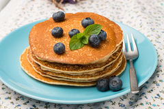 Pancakes with fresh blackberries Stock Photos