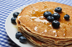 Pancakes with fresh blueberries Stock Photo