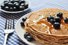 Pancakes with fresh blueberries Royalty Free Stock Photos