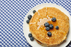 Pancakes with fresh blueberries Royalty Free Stock Image