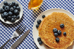 Pancakes with fresh blueberries Royalty Free Stock Photography