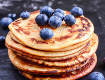 Pancakes with fresh Blueberries stock photography
