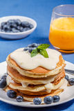 Pancakes with fresh blueberry Stock Image