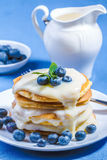 Pancakes with fresh blueberry Royalty Free Stock Image
