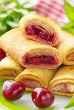 Pancakes with fresh cherries Royalty Free Stock Photography