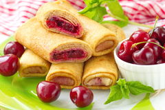 Pancakes with fresh cherries Stock Photography