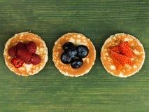 Pancakes With Fresh Fruit Dessert Stock Photo