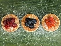 Pancakes With Fresh Fruit Dessert Stock Photos