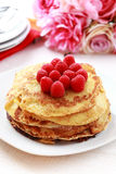 Pancakes with fresh raspberries Royalty Free Stock Photo