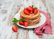 Pancakes with fresh strawberries Stock Photo