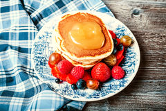 Pancakes with fresh summer berries Stock Photo