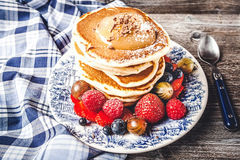 Pancakes with fresh summer berries Stock Photography