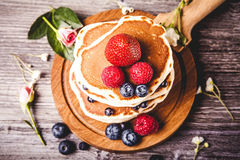 Pancakes with fresh summer berries Royalty Free Stock Photo