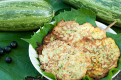 Pancakes with fresh zucchini Stock Images