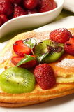 Pancakes with fruit Royalty Free Stock Photography