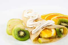 Pancakes with fruit Stock Photography
