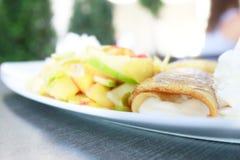 Pancakes and fruit salad Stock Photo