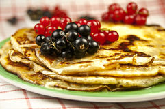 Pancakes with fruits Royalty Free Stock Photos