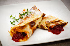 Pancakes with fruits Royalty Free Stock Photography