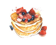 Pancakes with fruits breakfast watercolor painting illustration isolated on white background Stock Images
