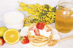 Pancakes with fruits and milk Royalty Free Stock Images