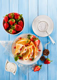 Pancakes with fruits Stock Images