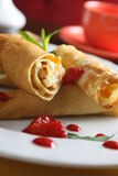 Pancakes with fruits and strawberry Stock Image