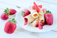 Pancakes with fruits Stock Photos