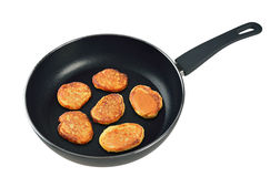 Pancakes in a frying pan Royalty Free Stock Image