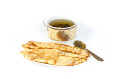 Pancakes with green tea Royalty Free Stock Photo
